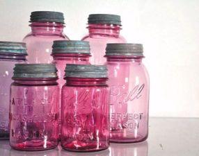 Beautiful pinkish hues of mason jars.