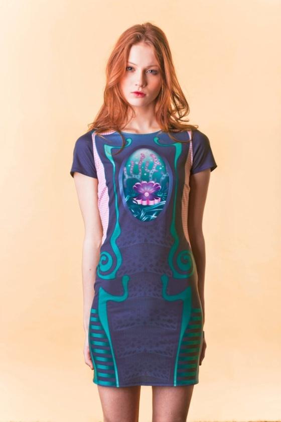 redhead blue dress